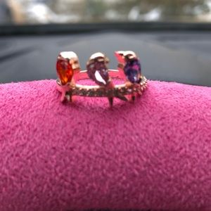 New Rose Gold 3 gemstone ring women size 7